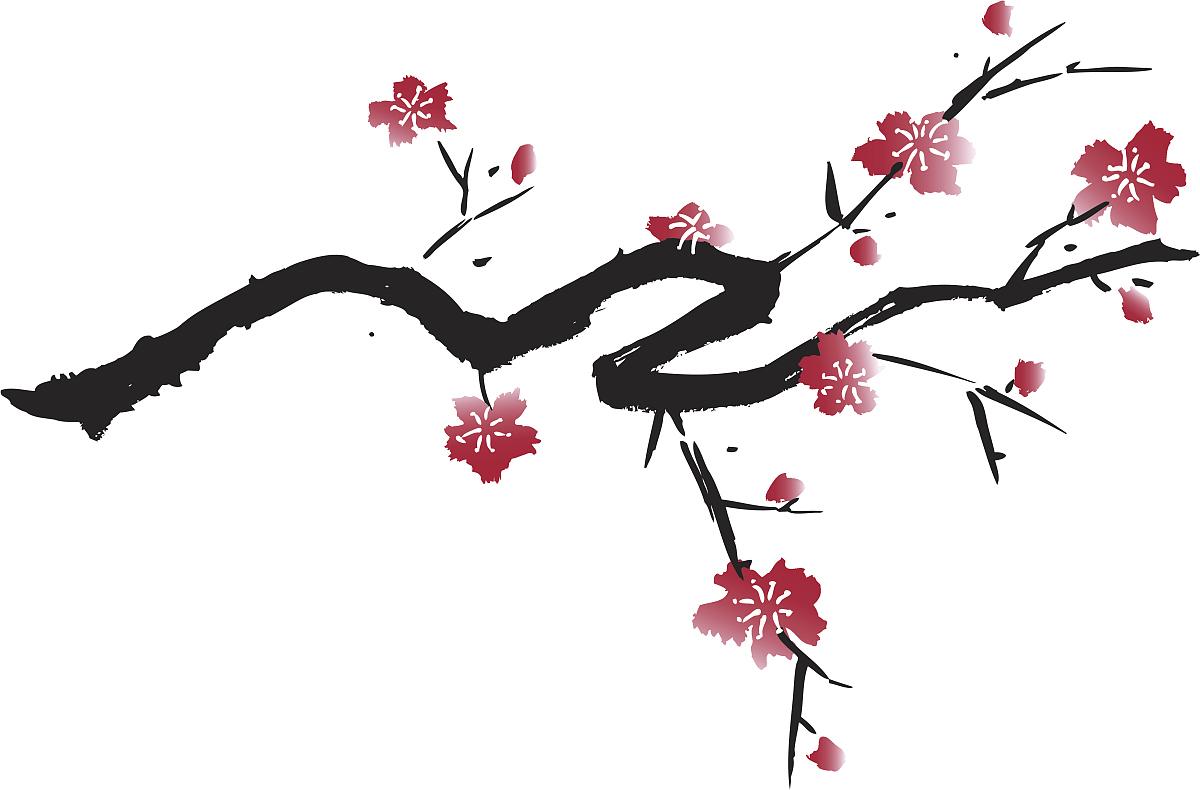 钢笔画,禅宗,自然美,绘画作品,花纹,矢量,时尚,梅花,图像图片