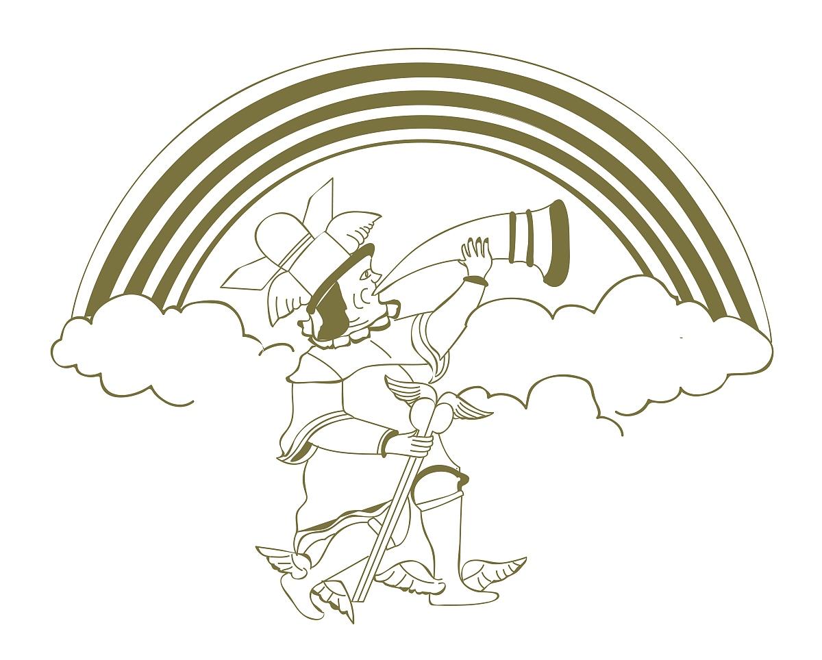 古代挪威神海姆达尔tblowing加拉尔云数字插画图片