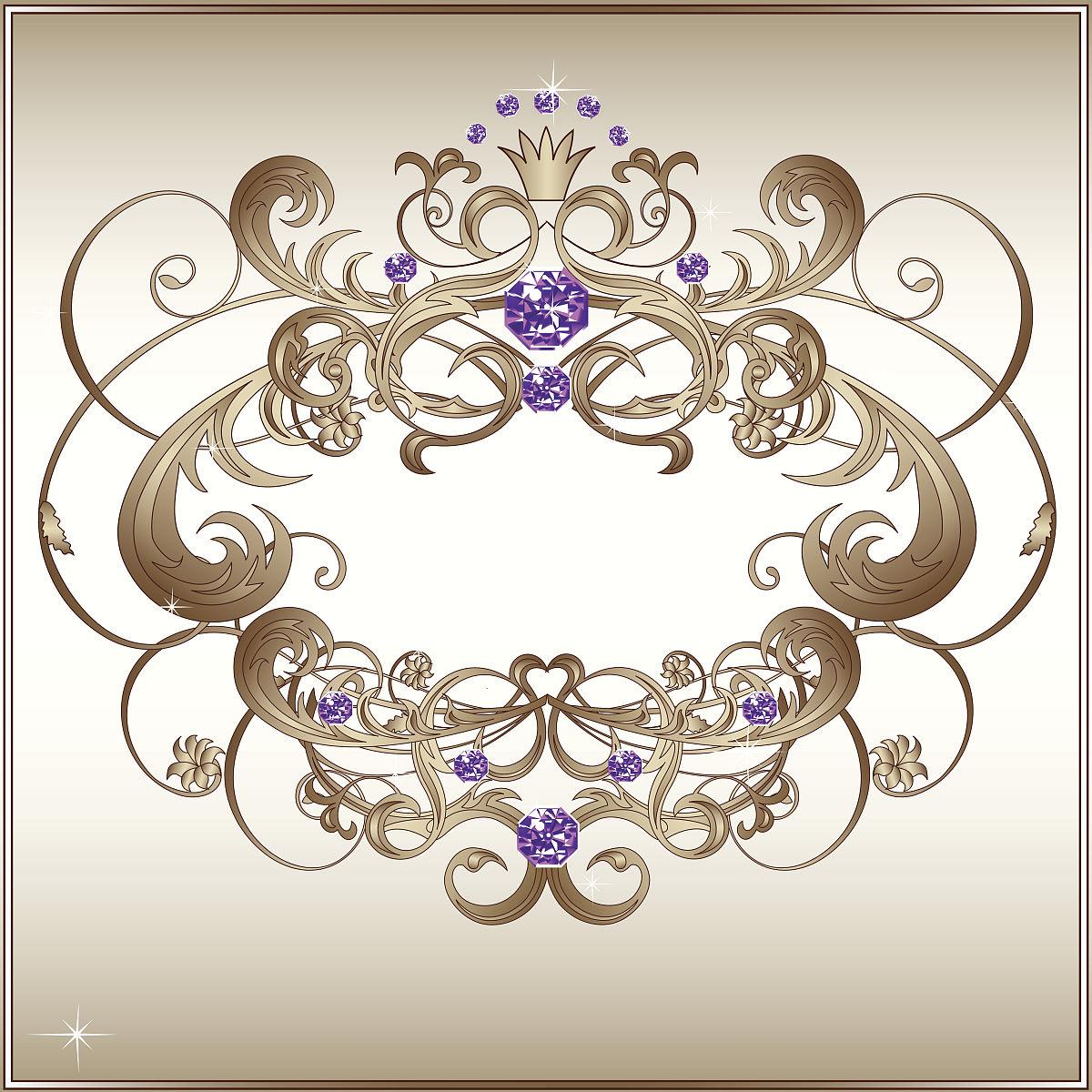经典白色花框,紫色珠宝图片