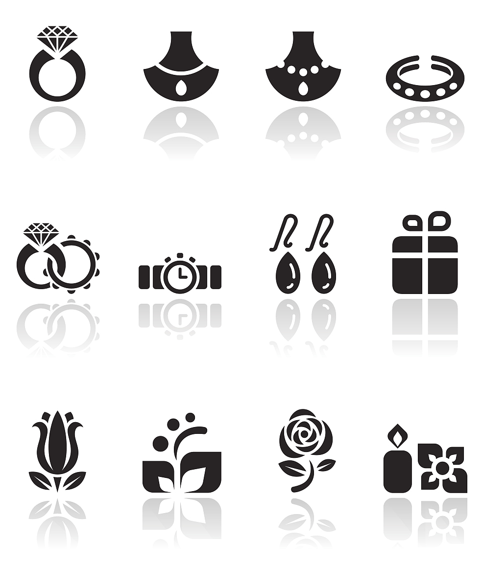 珠宝和婚礼图标集图片