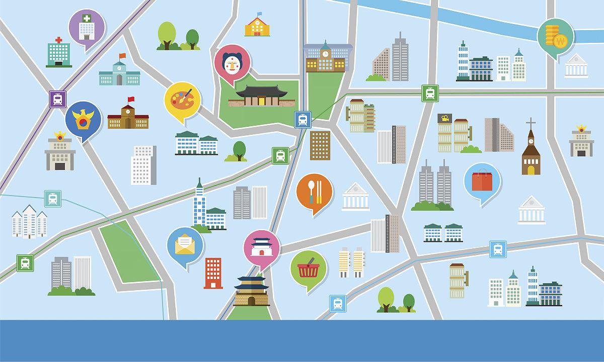 地图,地图,无人,图标,蓝色,朝鲜半岛,首尔,城市,宫殿,警察局,图像图片
