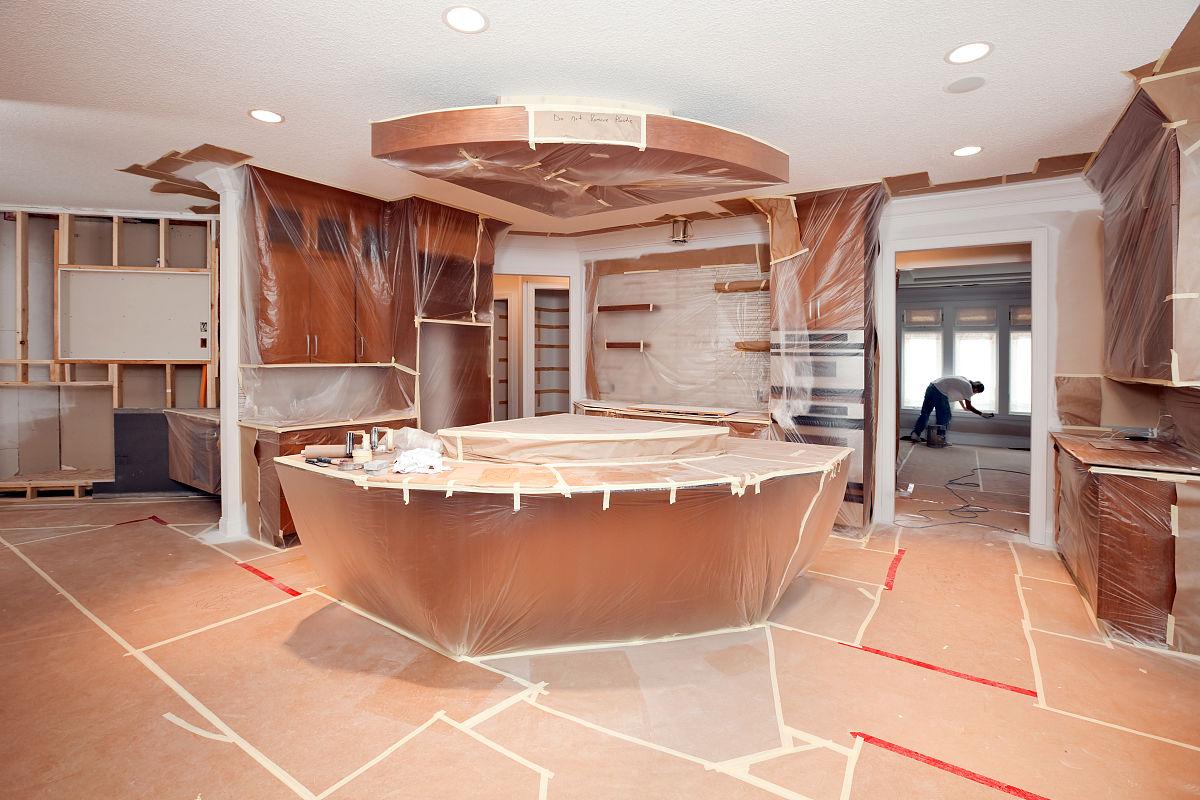 塑胶,地板,现代,保护,建筑业,商业厨房,报纸,厨房,厨房,新的,装修图片