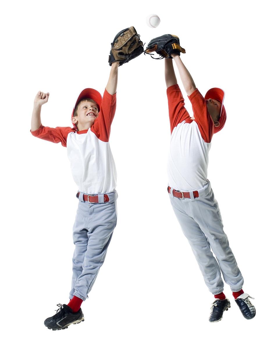 两名棒球选手跳