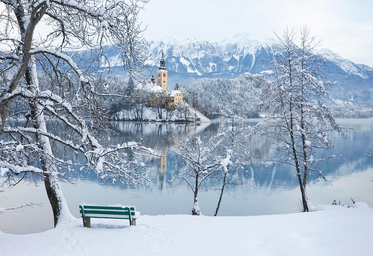 水平画幅,户外,城堡,欧洲,教堂,树,冬天,岛,雪,霜,湖,斯洛文尼亚图片