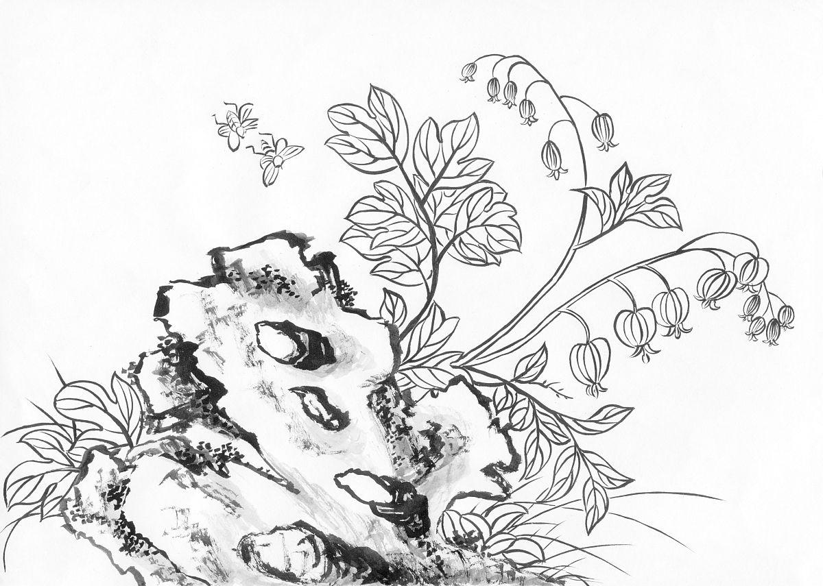 工笔画,自然,花,肺叶,蝴蝶,昆虫,中国画,黑白图片,绘画作品,中国文化图片