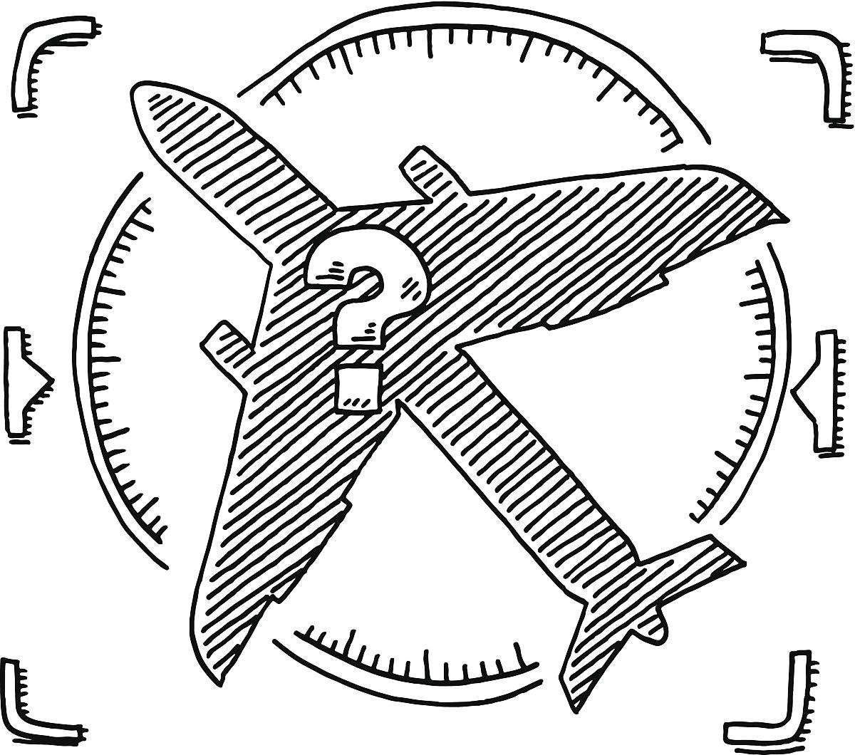 黑白图片,高视角,画画,飞机,飞,黑色,白色,透明,圆形,剪影,不幸,问号图片