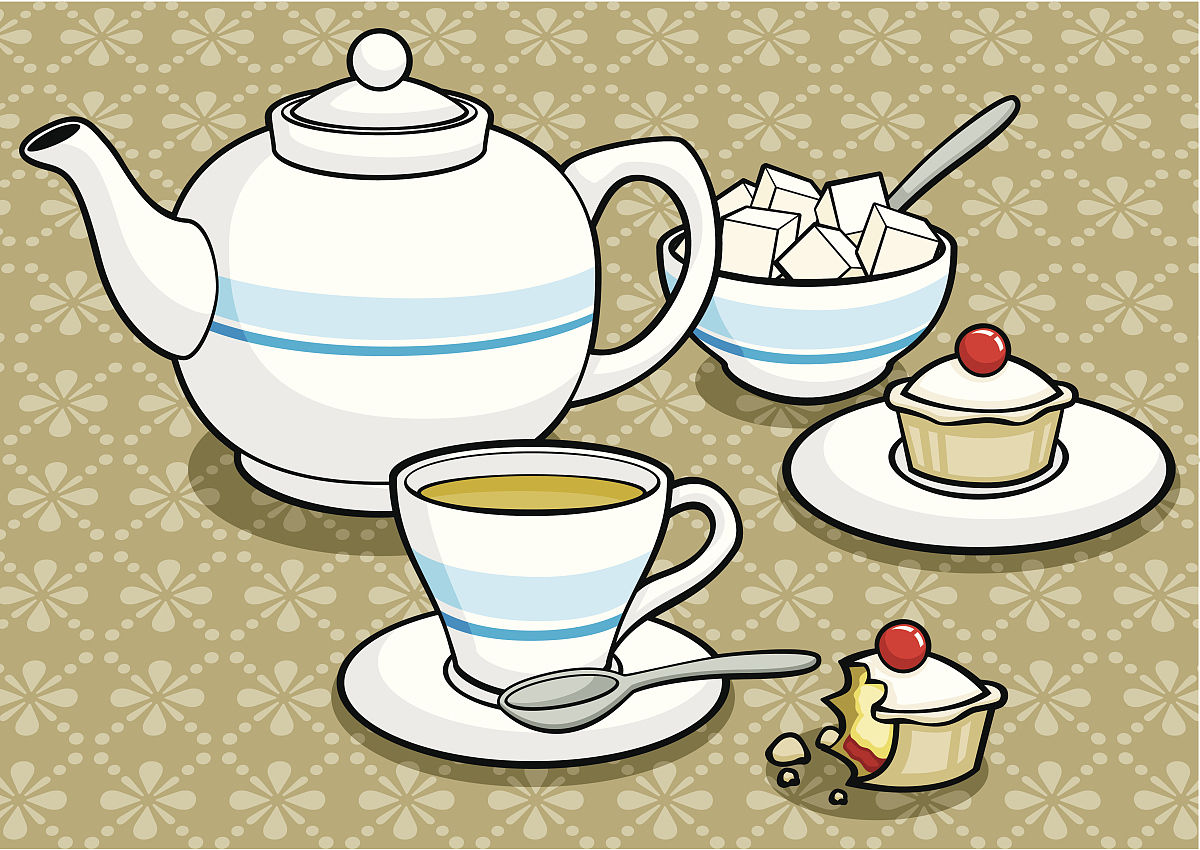 茶壶茶杯萨加博蛋糕图片