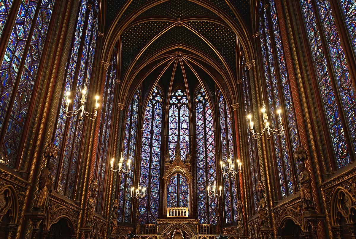 建筑,大教堂,教堂,欧洲,法国,哥特式风格,光,巴黎,彩色玻璃,摄影图片