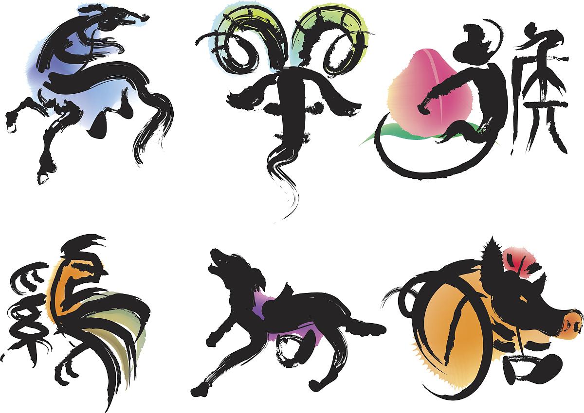 背景分离,简单背景,纹身,手稿,十二生肖,猿,军乐游行,狗,猪,动物图片