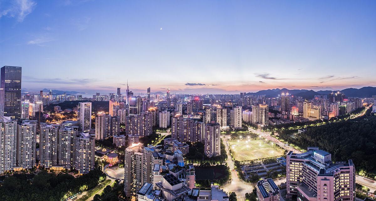 亚洲深圳广东省天空万里无云现代办公大楼摩天大楼住房房屋