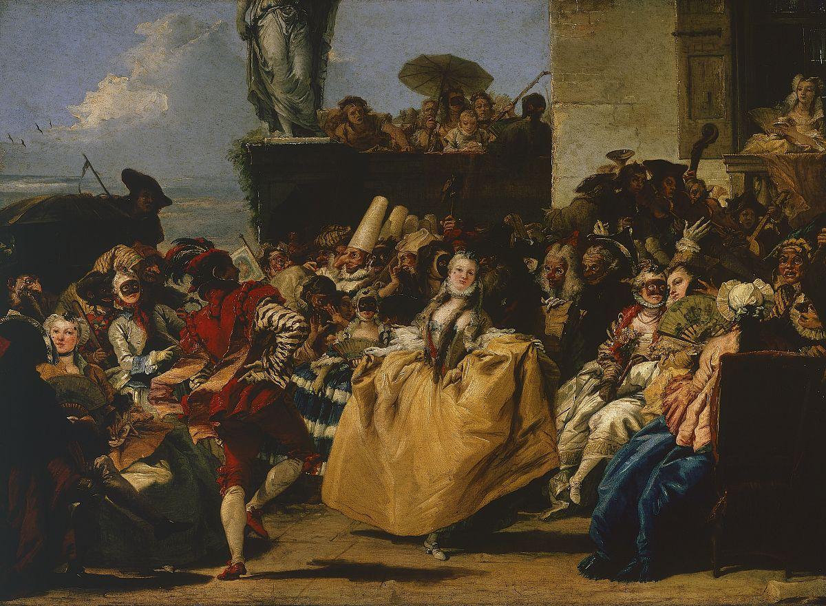 威尼斯的小步舞曲或狂欢的场景,由giandomenico tiepolo(1727-1804)图片