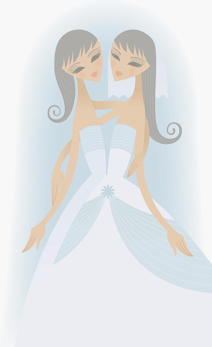仅成年人,影棚拍摄,连衣裙,婚纱,新娘,婚礼角色,女傧相,站,棕色头发图片