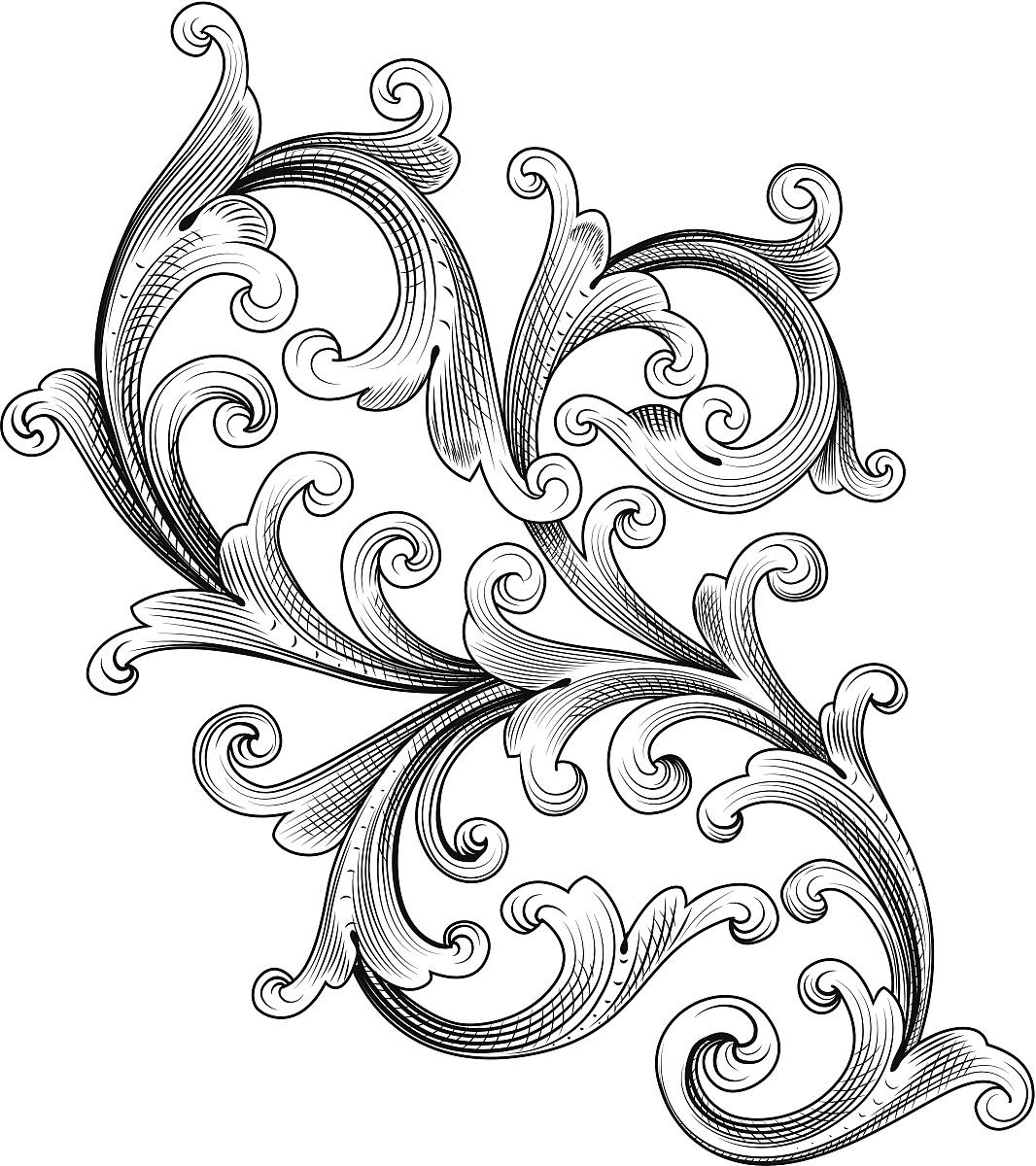 钢笔画,雕刻图像,古董,花纹,无人,矢量,阿拉伯风格,装饰镜板,花体图片