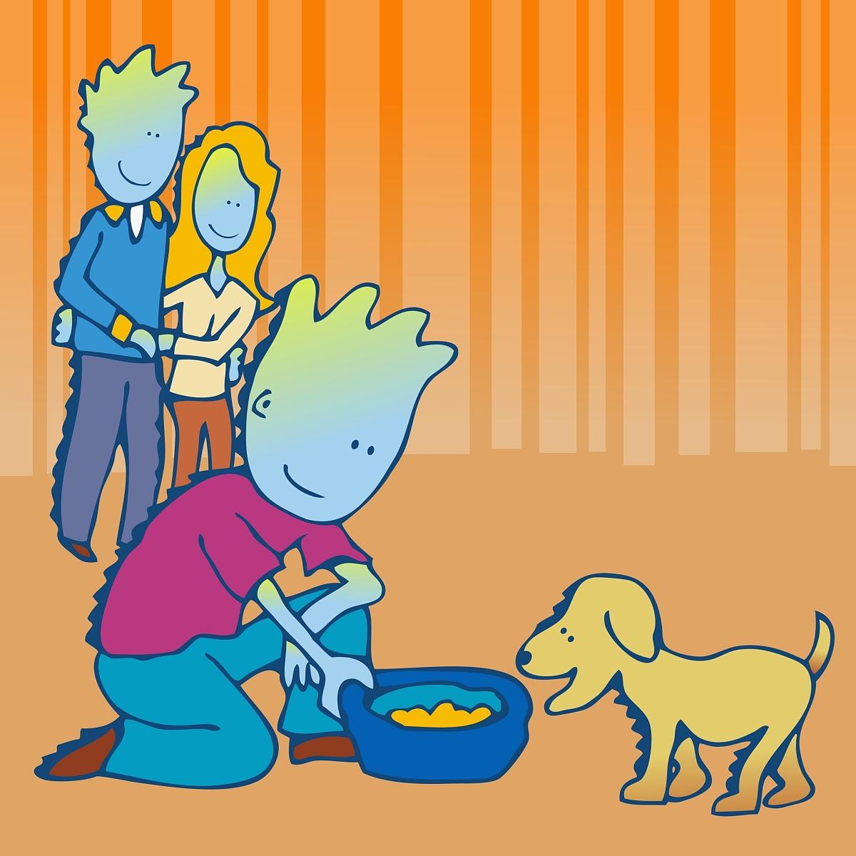中年夫妇看着他们的儿子给狗提供食物图片