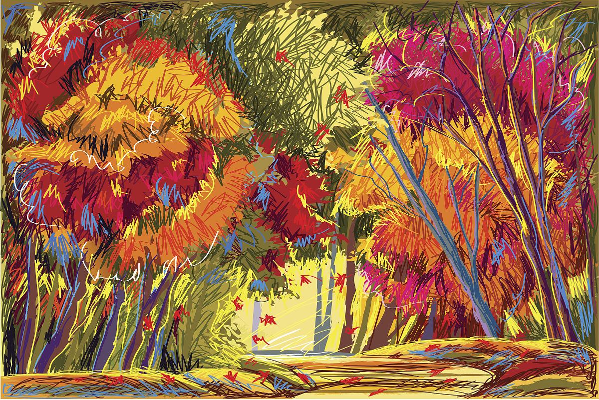 户外,绘画艺术品,画画,小路,绿色,红色,黄色,多色的,树,季节,秋天图片