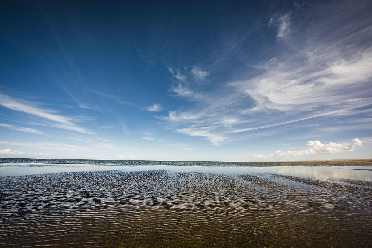 蓝天白云下,清澈的湖水图片图片