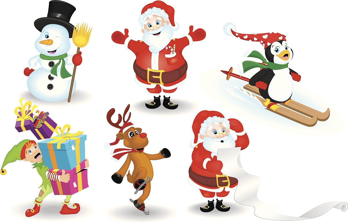 人,礼物,滑雪运动,滑冰,圣诞节,驯鹿,企鹅,冬天,圣诞老人,派对帽图片图片