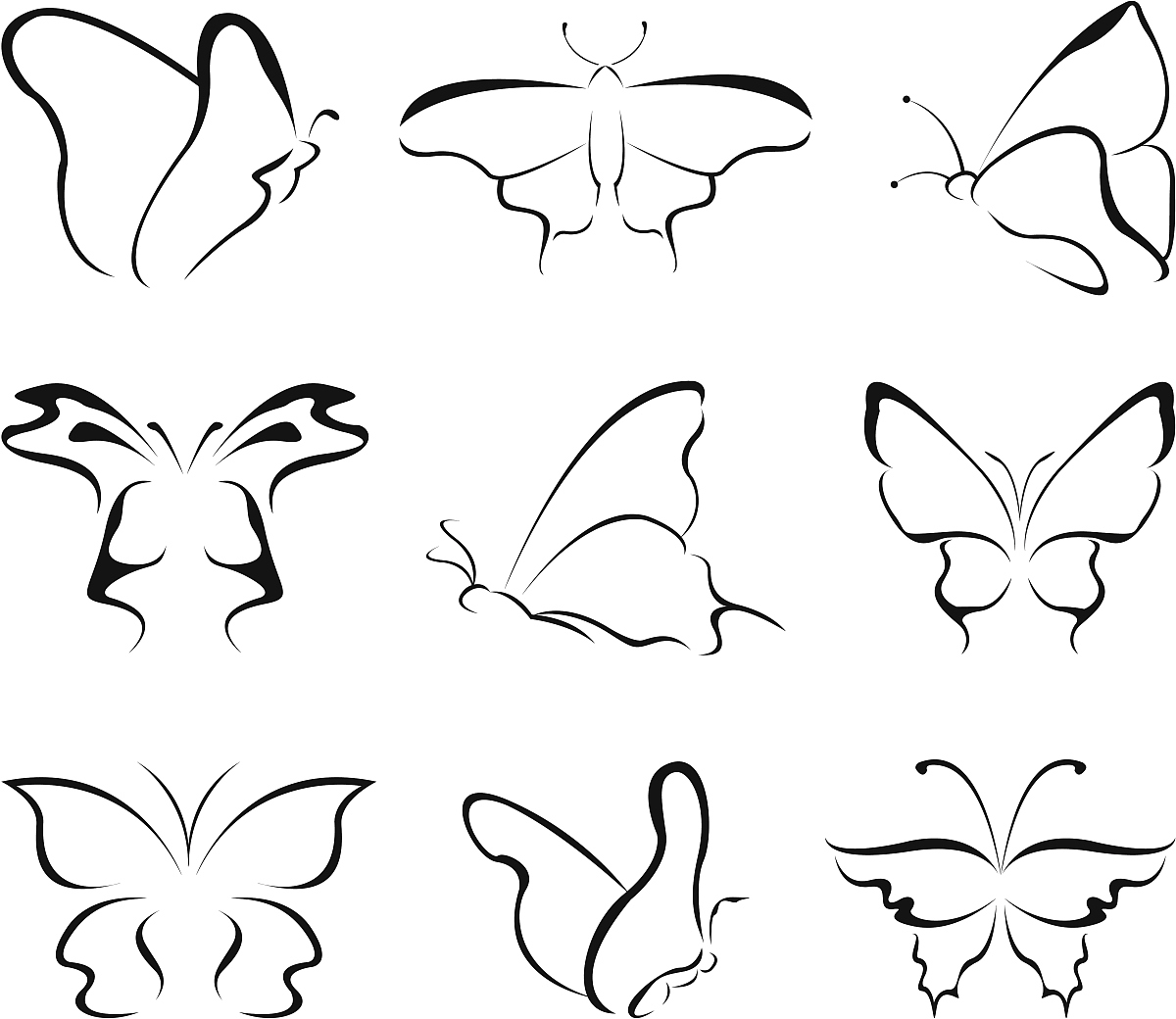 昆虫,黑色,式样,蝴蝶,剪影,计算机图标,美术工艺,艺术,抽象,铅笔画图片