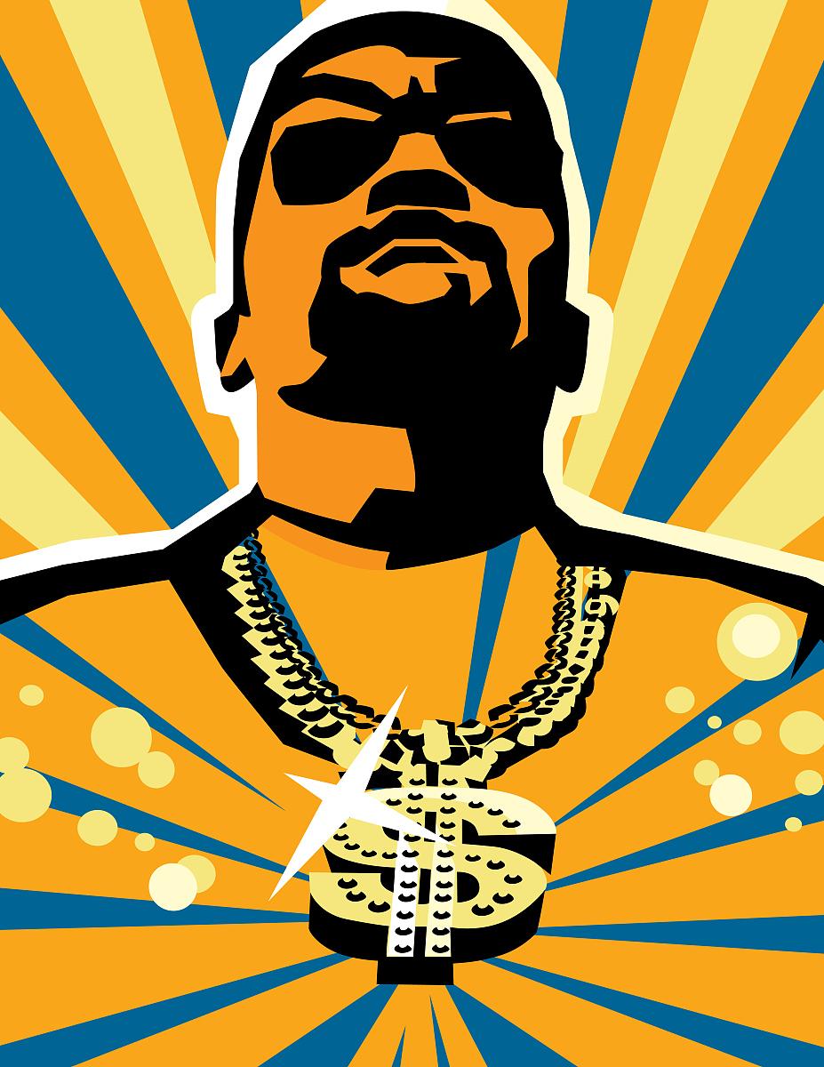 年轻男子戴金链与美元标志吊坠图片图片