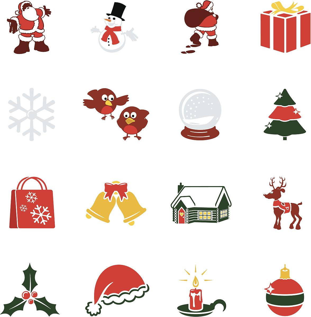 驯鹿,知更鸟,圣诞老公,铃,小木屋,卡通,绘画插图,圣诞树,礼物图片图片