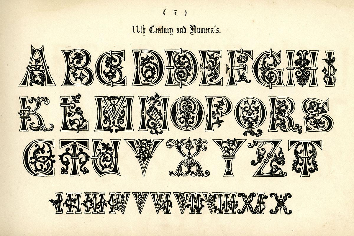哥特式罗马数字纹身字体分享展示图片