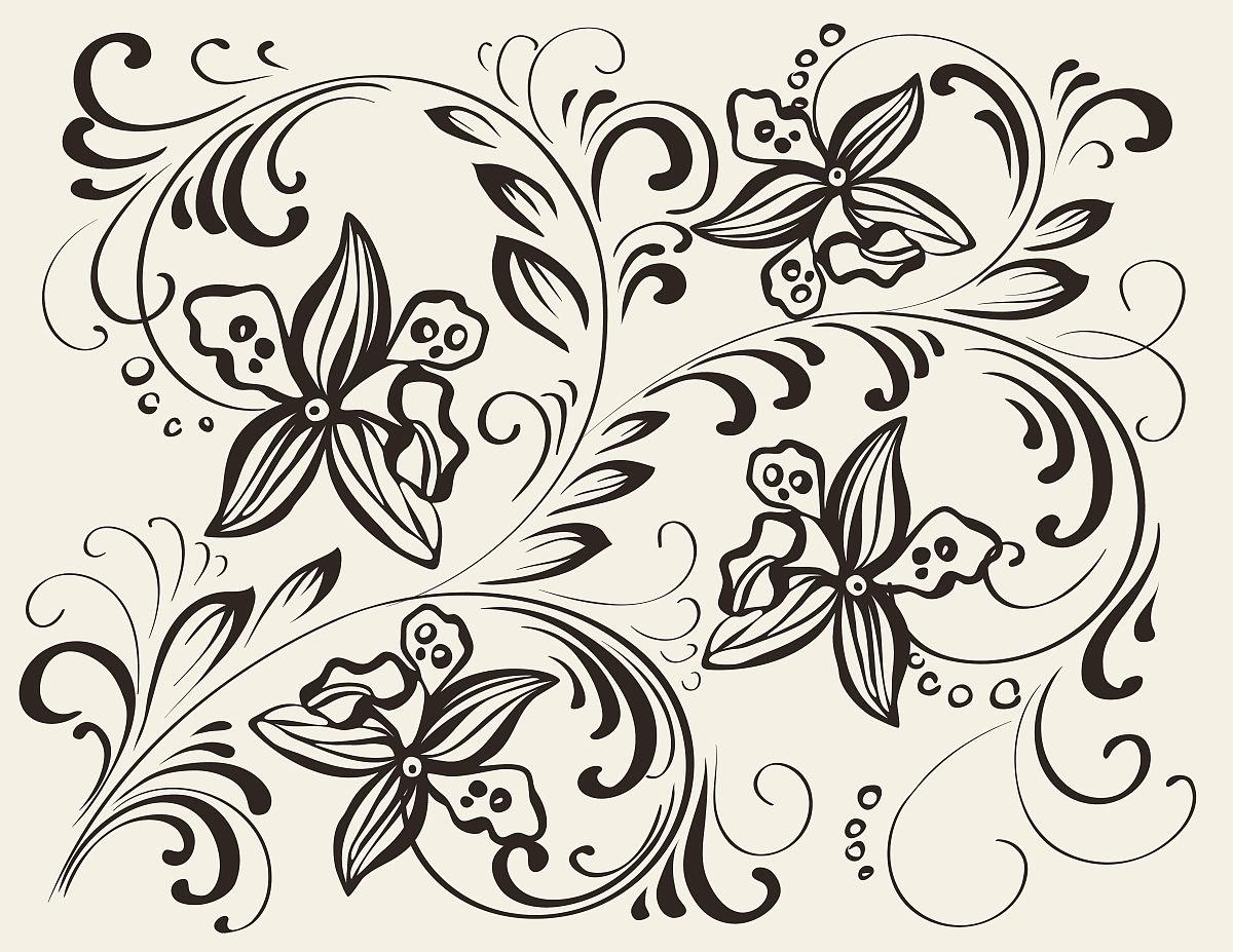 线条兰花纹身图分享展示图片