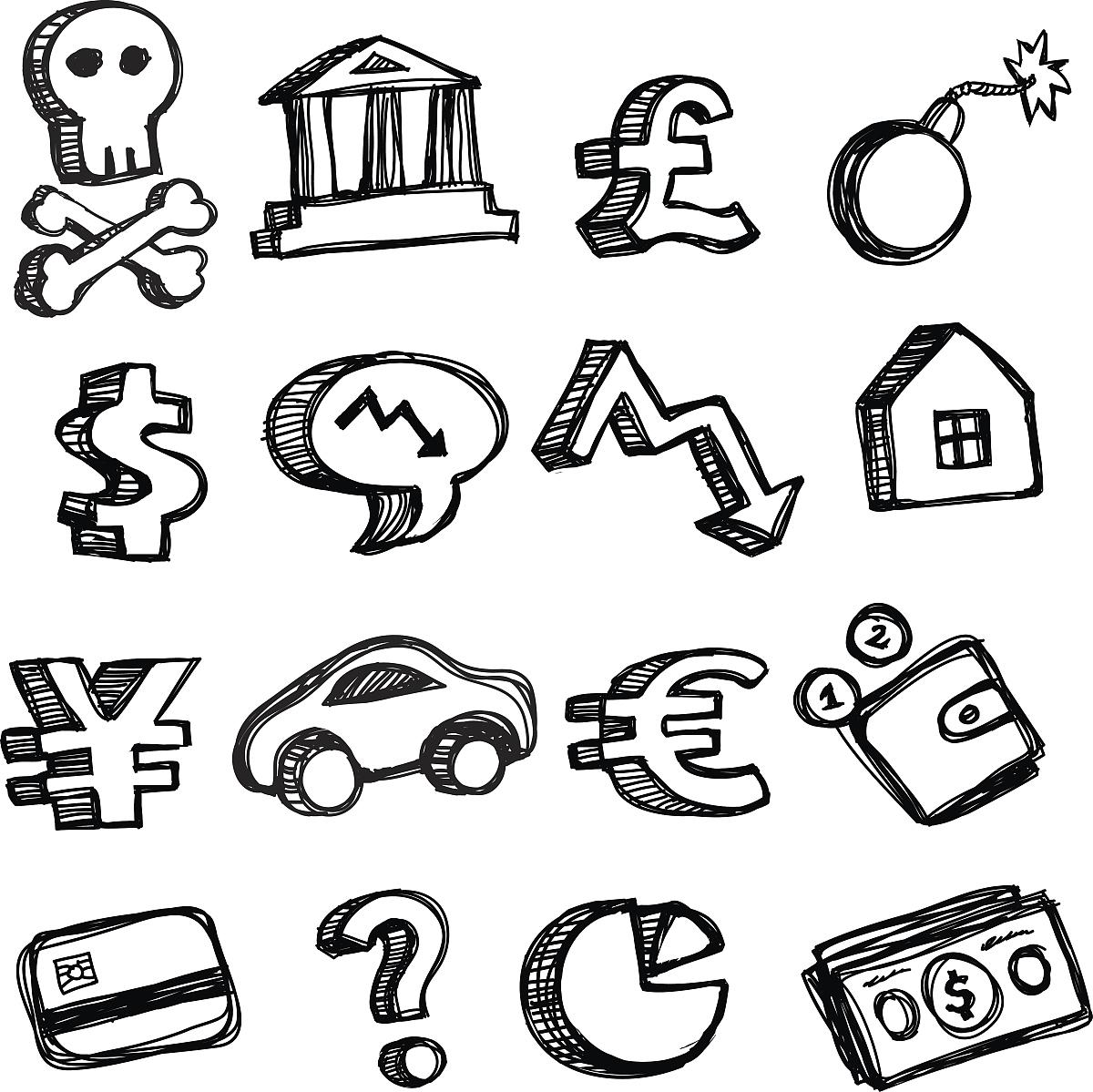 美元符号,英镑符号,符号,房屋,轰炸,日元符号,黑白图片,矢量,网络表情图片
