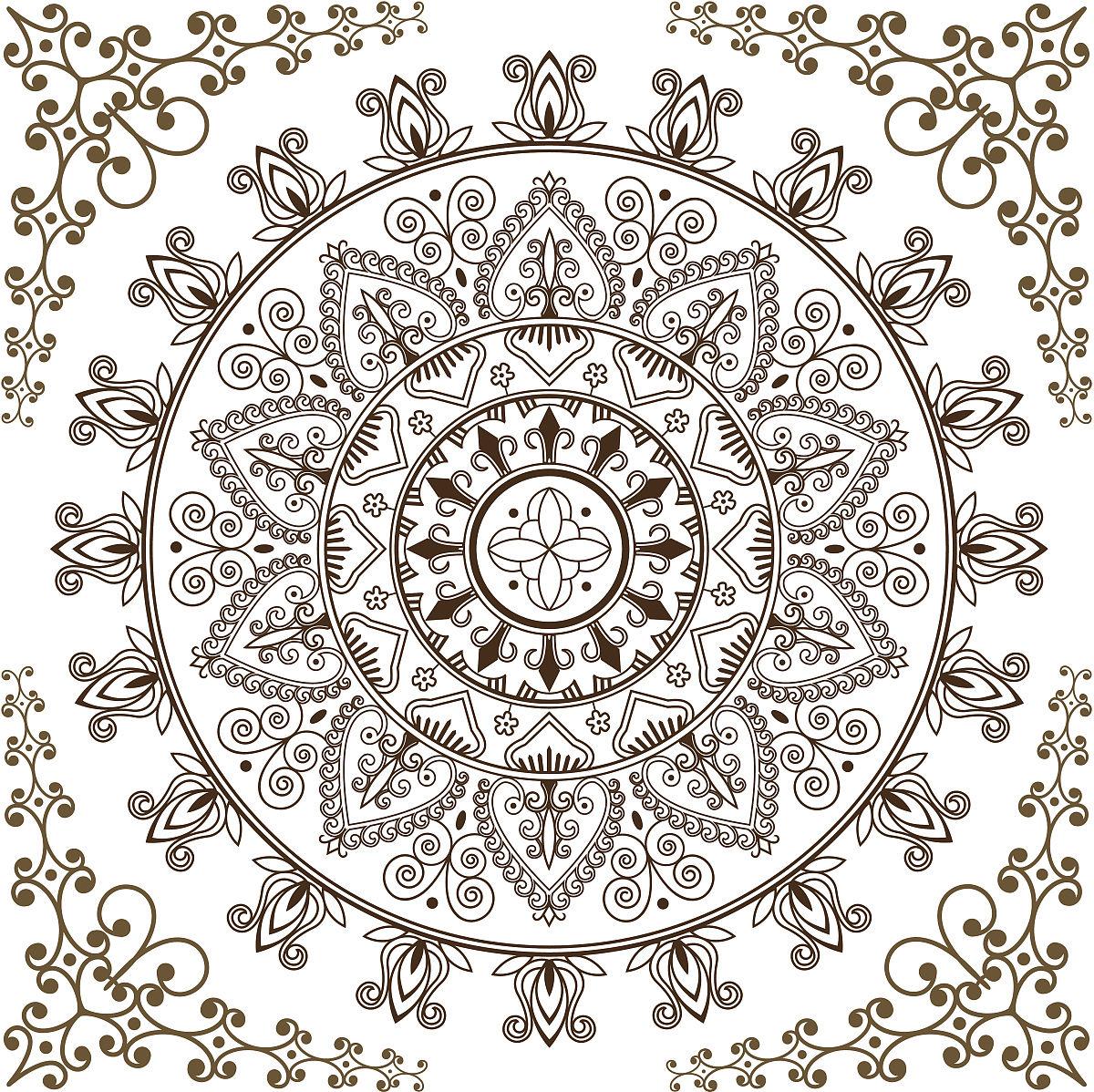 圆形花纹几何纹身分享展示图片