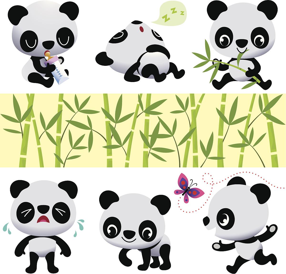 蝴蝶,森林,童年,计算机图标,竹,熊猫,可爱的,婴儿奶瓶,卡通,表情符号图片