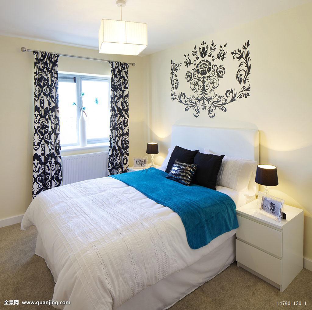英国,欧盟,欧洲,萨默塞特,环境,被面,卧室,床头灯,床头柜,蓝色,吊灯图片