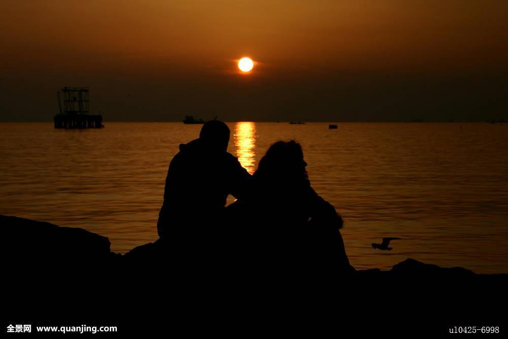 太阳,海洋,海岸,逆光,反射,剪影,海鸥,爱人,金色,阳光,自然,海边,背影图片