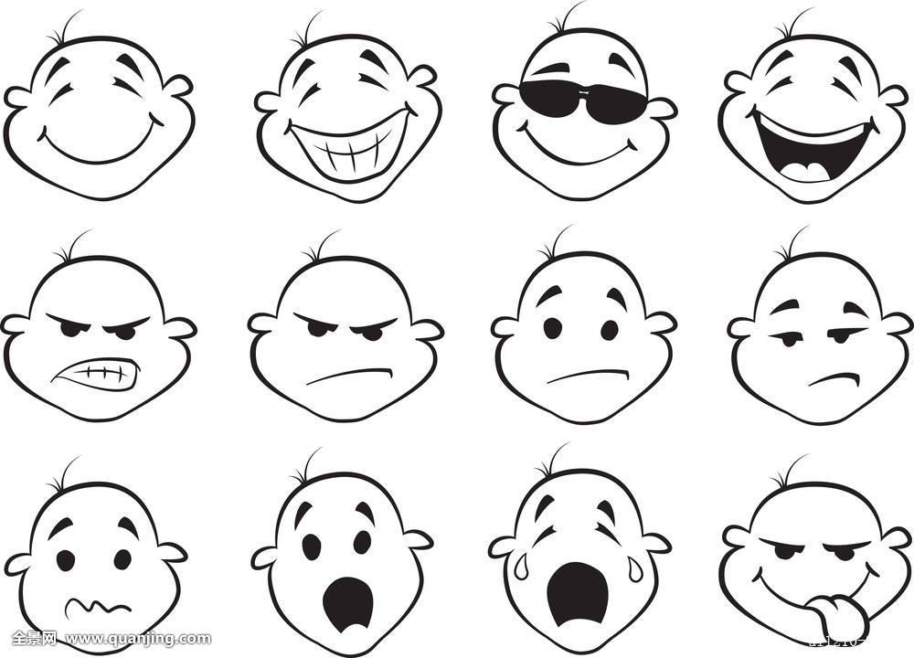 可爱,插画,隔绝,人,男孩,婴儿,孩子,表情,高兴,儿童,小,脸,生气,恐惧图片