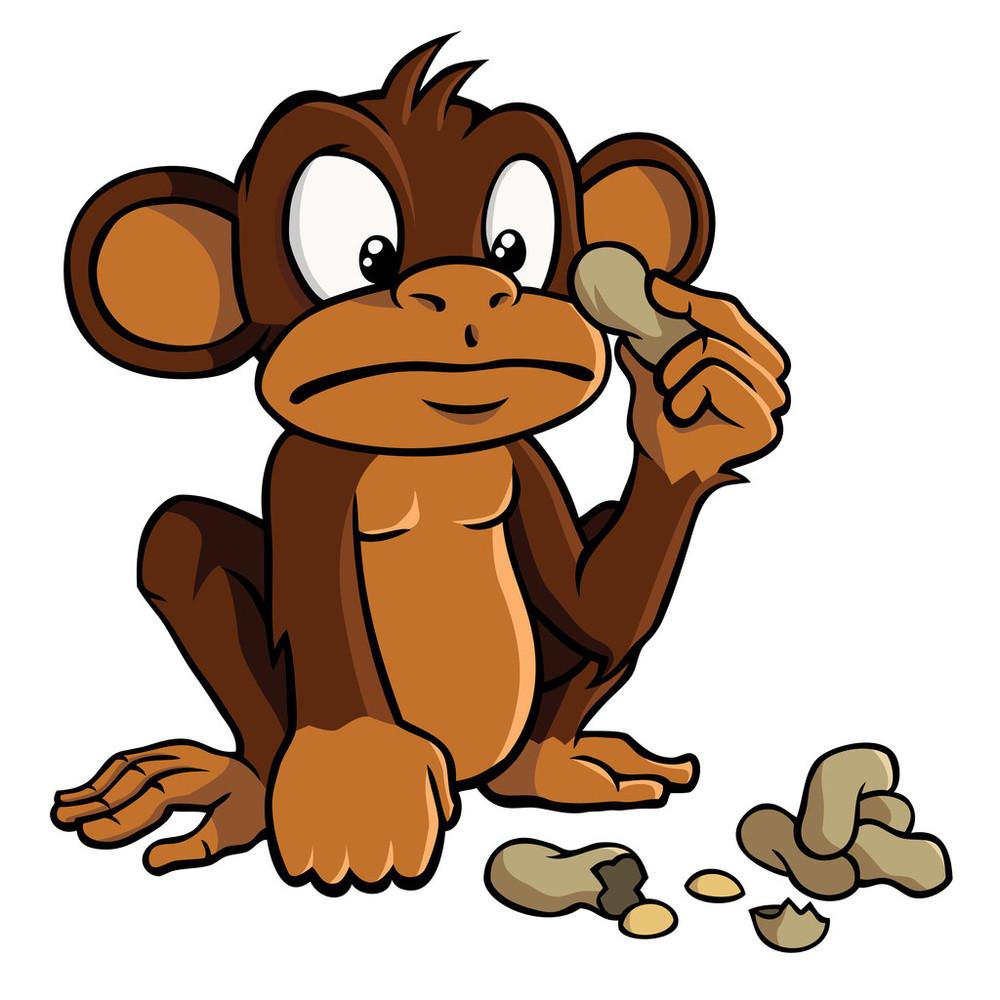 画猴子用什么颜色_卡通猴子花生
