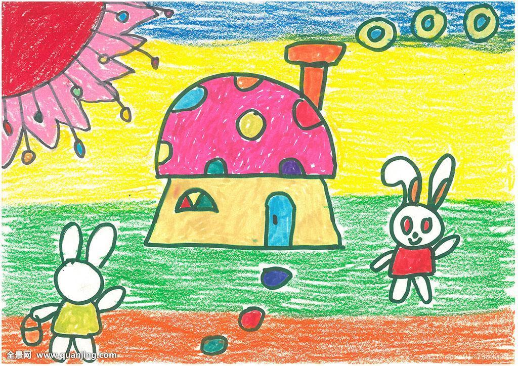 童画怎么画_水平构图,儿童,儿童画,兔子,卡通画,图画,太阳,幼儿画,房屋,画,童话
