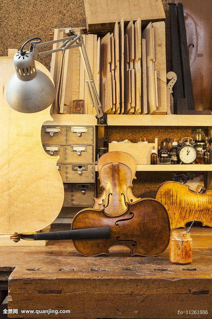 小提琴,弦乐器,乡村,工作台,种类,木头,架子,照亮,复古,台灯图片