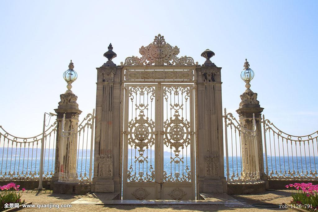 大门,博斯普鲁斯海峡,朵尔玛巴切皇宫,宫殿,伊斯坦布尔,土耳其,欧洲图片