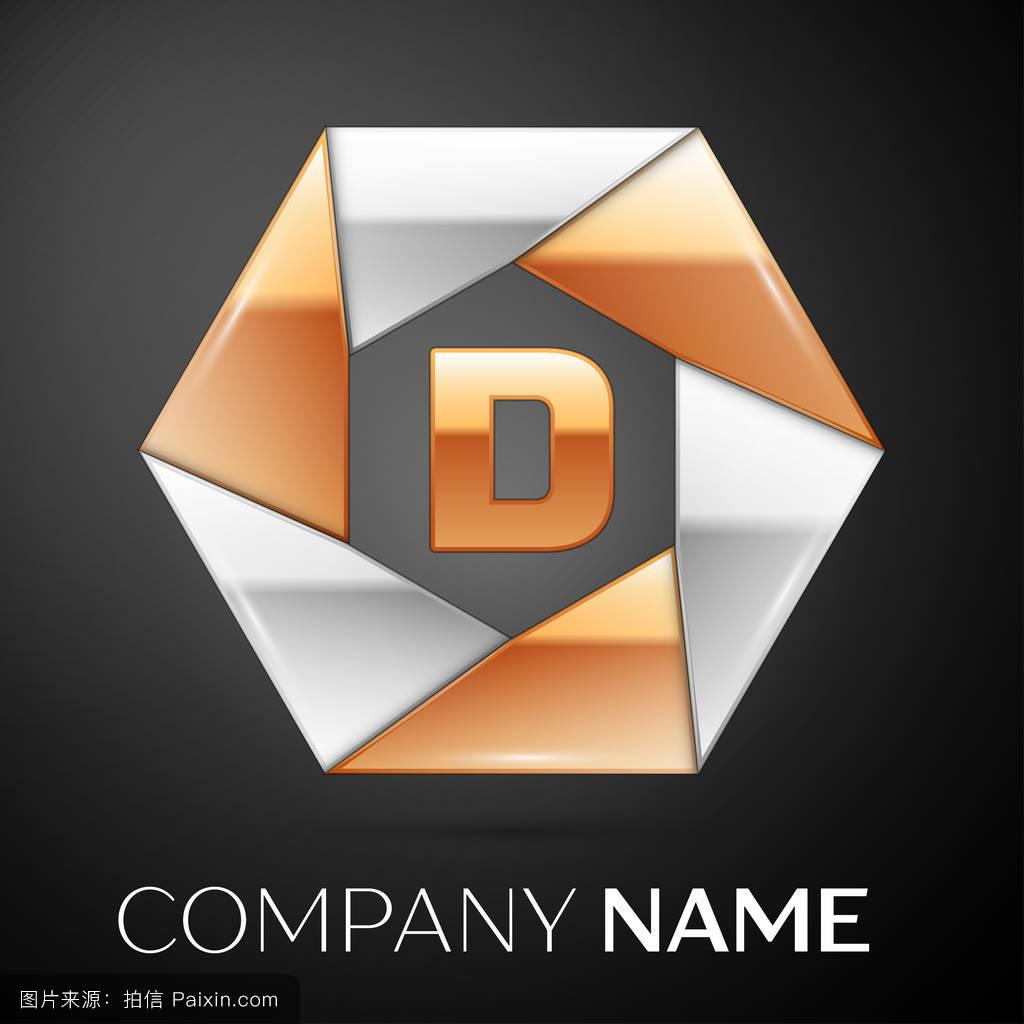 字母d矢量标志在黑色的彩色六边形上图片