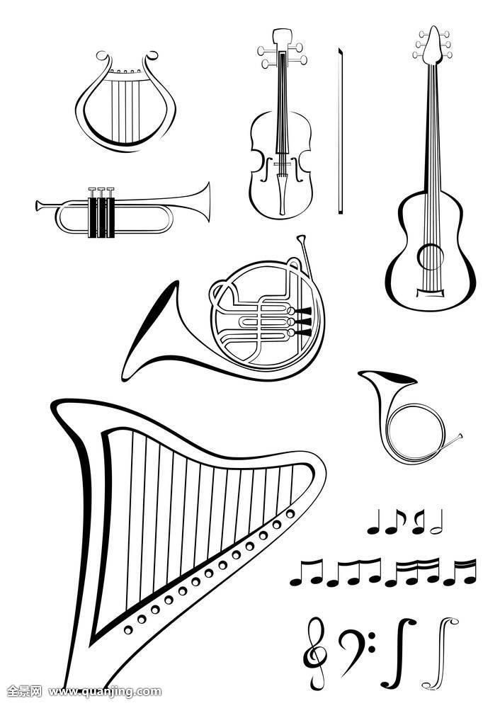 竖琴,吉他,斧子,小提琴,乐弓,圆号,喇叭,军号,弦,音符,五线谱,音乐图片