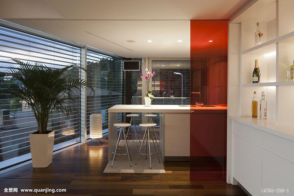 厨房,橙色,隔断,巴塞罗那,西班牙图片