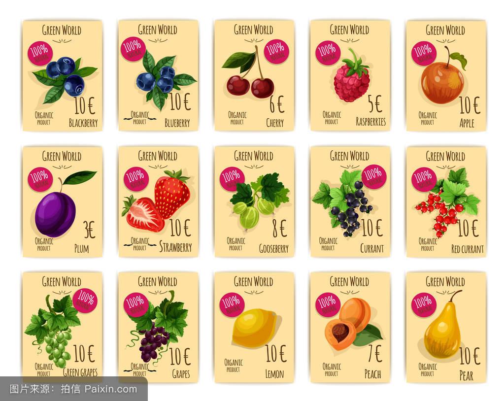 价格_水果和浆果的价格或销售标签,卡