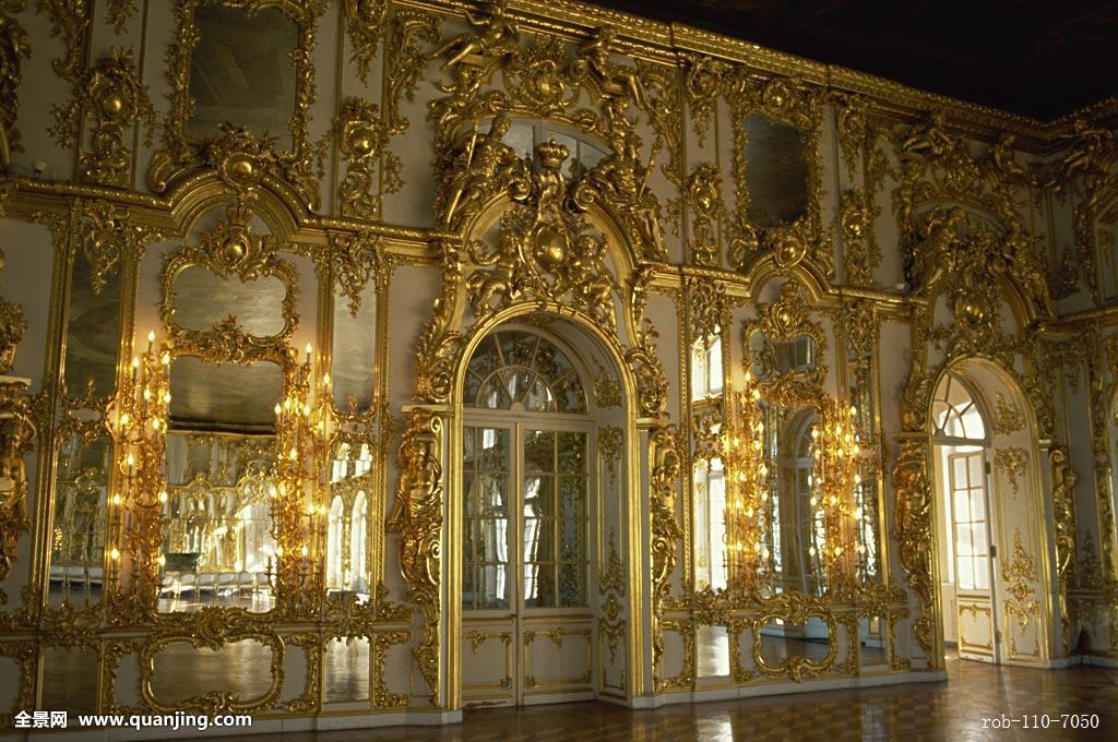 白天,欧洲,俄罗斯,镀金,金色,黄金,华丽,凯瑟琳宫,宫殿,建筑内部图片