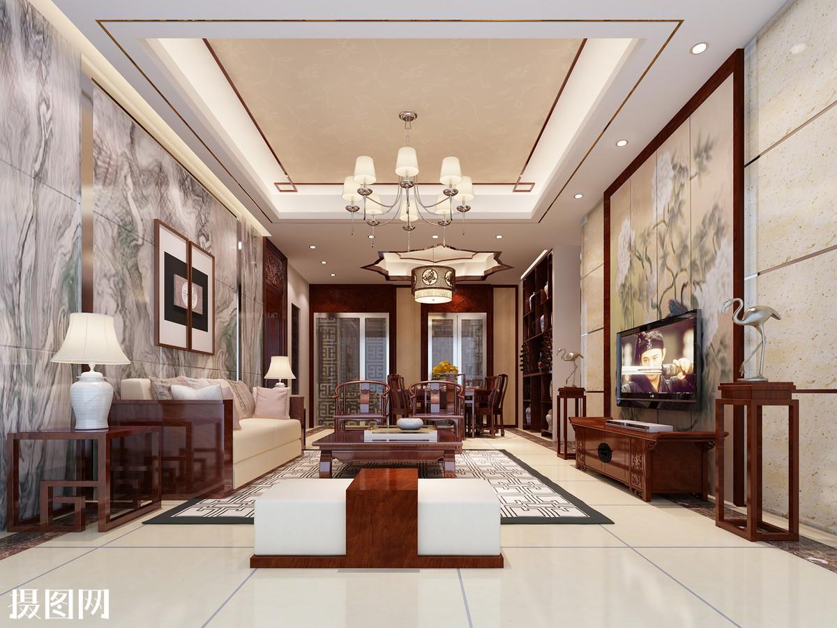 沙发背景墙,中式纹路,中国结,刺绣墙纸,中式回纹玻璃门,不锈钢修边图片