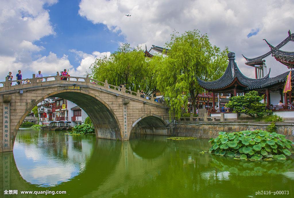 蓝天白云,飞机,水乡,石桥,民居,古典民居,传统文化,人文景观,中式建筑图片