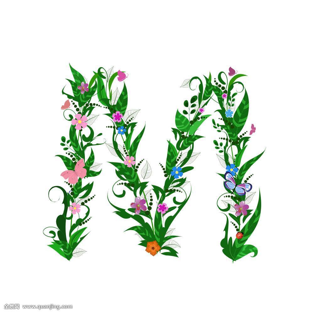 蝴蝶,花,瓢虫,字体,插画,设计,文字,装饰,平面,叶子,象征,字母,华丽130参考艺术平方设计图图片