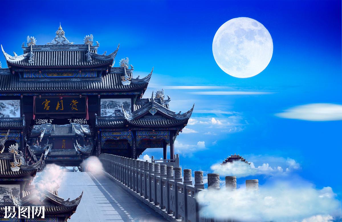 牌匾,牌坊,古建筑,天宫,圆月,月亮,满月,中秋佳节,中秋,节日背景图片