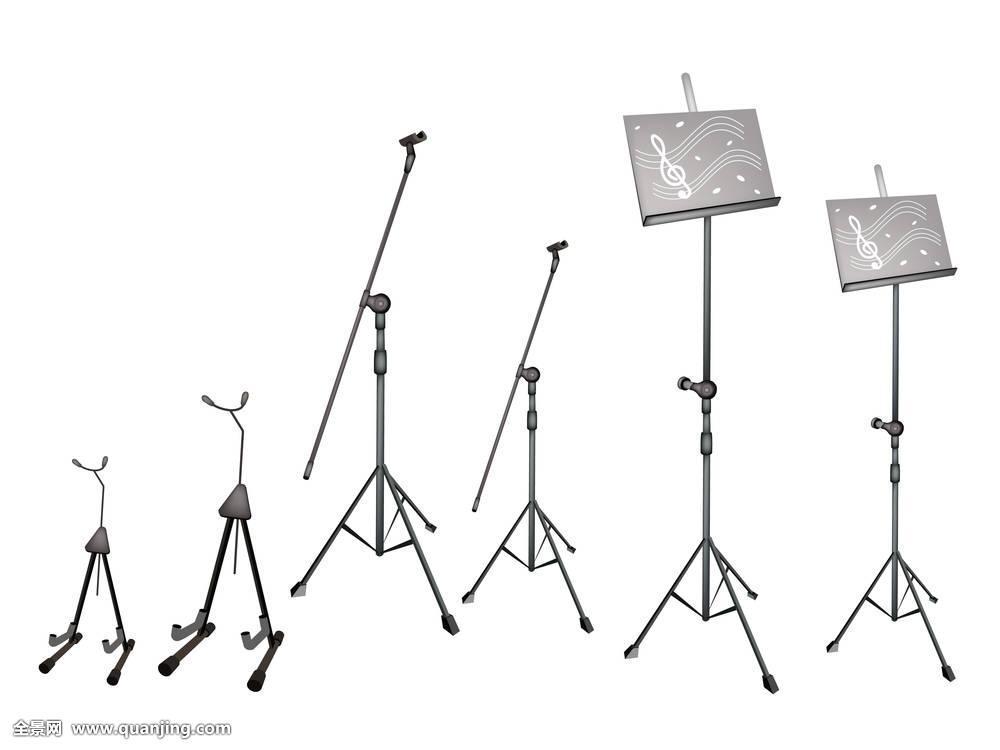 乐谱架,麦克风架,吉他,站立图片