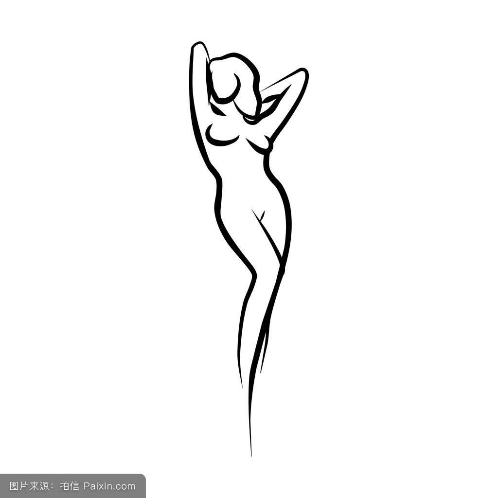 健身,曲线,头发,站立,姿势,人体躯干,图解的,臀部,着色的,绘画,身体图片