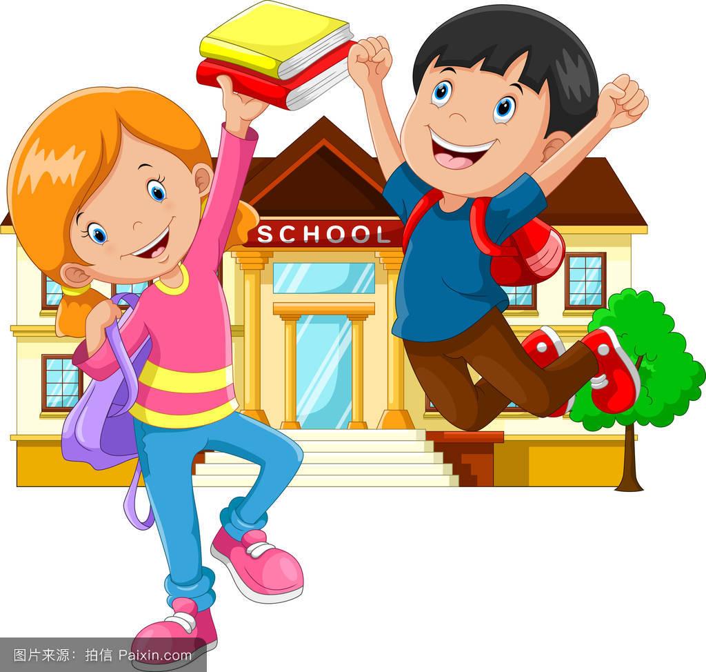 卡通,男性的,教室,知识,组,书包,学童,玩,朋友,童年,幸福的,令人愉快图片