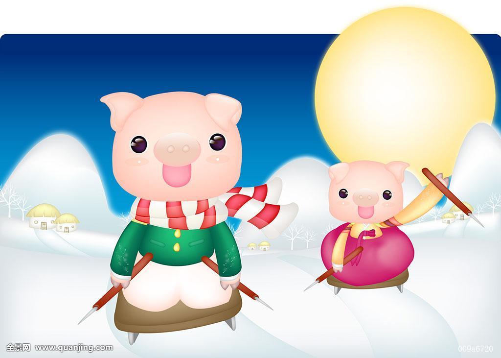 牲畜,建筑,冬天,季节,男性,动物,猪,国定假日,人,新年,乡村,雪橇,女性图片