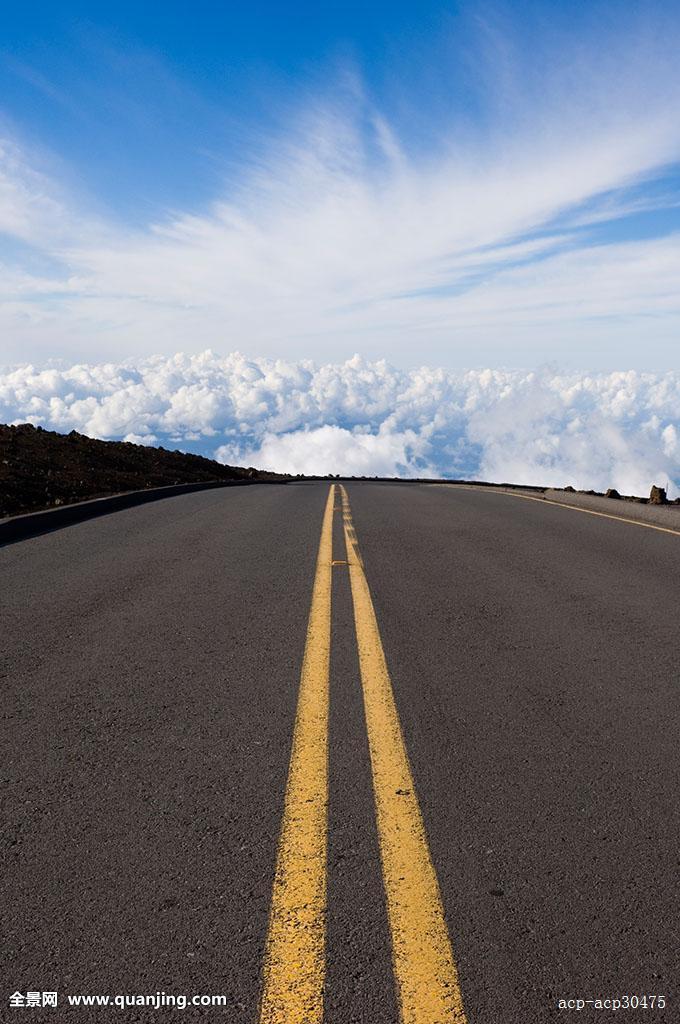路�_道路,云,火山,毛伊岛,夏威夷,美国